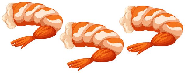 Three cooked shrimps on white background