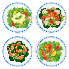 Four types of salad on round plate