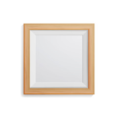 Realistic Photo Frame Vector. Square Light Wood Blank Picture Frame, Hanging On White Wall From The Front. Design Template For Mock Up.