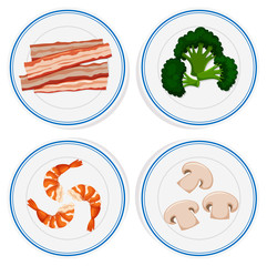 Four kinds of ingredients on white plates