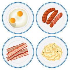 Breakfast set on four plates