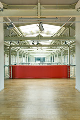 Industrial interior with red wall
