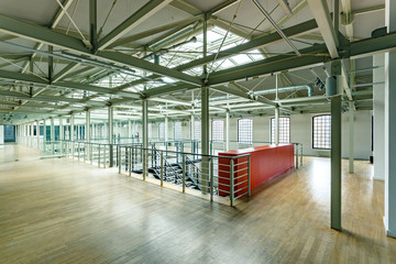 Industrial interior with steel construction