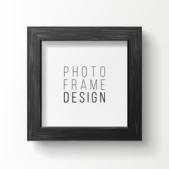 Realistic Photo Frame Vector. On White Wall From The Front With Soft Shadow. Good For Your presentations.