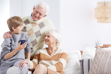Grandson, grandma and grandpa