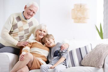 Grandchild ebracing his grandmother