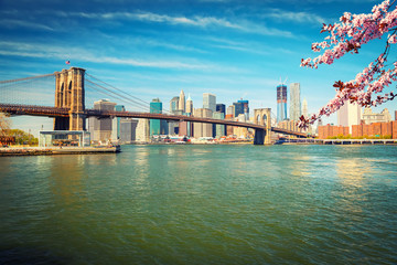 Fotomurales - Brooklyn bridge and Manhattan at spring, New York City