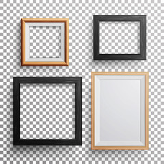 Realistic Photo Frame Vector. 3d Set Square, A3, A4 Sizes Light Wood Blank Picture Frame, Hanging On Transparent Background With Soft Transparent Shadow. Design Template For Mock Up.