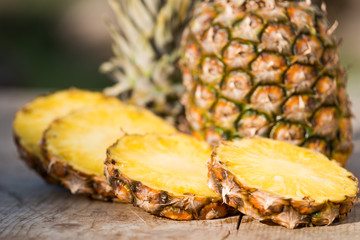 pineapple on a wooden board