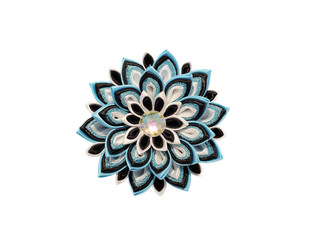 Wall Mural - Blue kanzash flower isolated on white background.