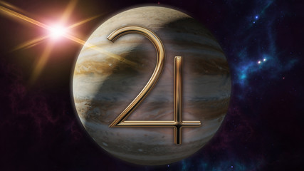 Jupiter zodiac horoscope symbol and planet. 3D rendering