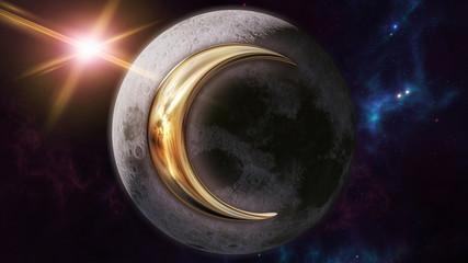 Moon zodiac horoscope symbol and planet. 3D rendering