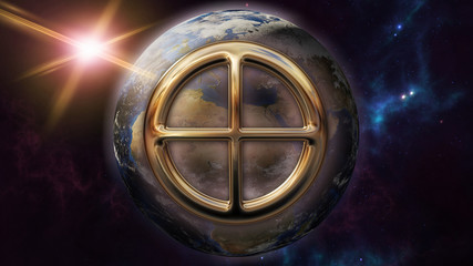 Earth zodiac horoscope symbol and planet. 3D rendering