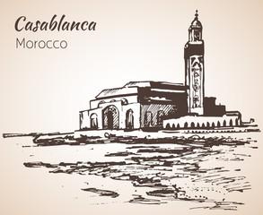 Hassan II Mosque, Casablanca. Marocco. Sketch.