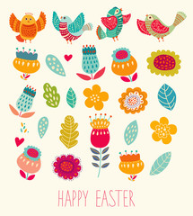 Set of decorative illustrations for easter design