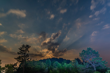 Starry sky view during moonrise