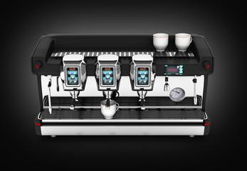 Modern Coffee Machine on black gradient background 3d