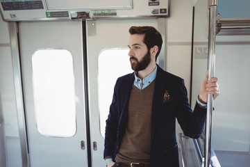 Businessman travelling in train