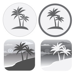 Set of flat vector black and white icons with palm trees.