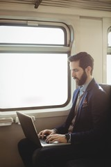 Businessman using laptop while travelling