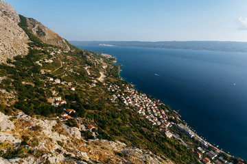 Top panoramic view from the fortress Stari Grad near Omis on the town of Nemira in Croatia.