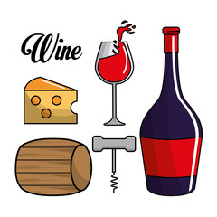 glass, bottle of wine, barrel, cheese and take out cork
