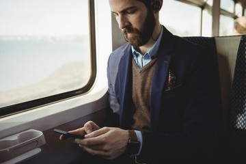 Businessman using mobile phone while travelling