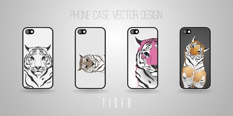 Phone case vector design. Theme - Tiger