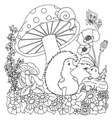 Vector illustration of a hedgehog with a mole on a clearing under a mushroom. The work is done manually. Coloring books antistress for adults and children. Black and white.