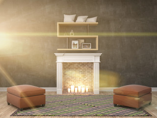 interior with fireplace. 3d illustration
