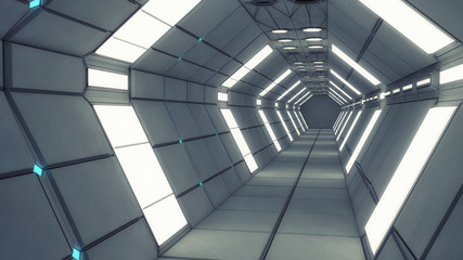 Futuristic corridor with global illumination. Hall of a spacecraft.