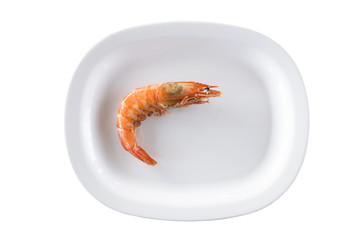 Fried shrimp in white bowl isolated on white background with clipping path.