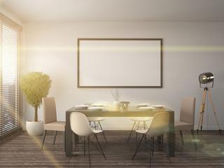 mock up poster frame in interior background. 3D Illustration