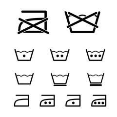 Laundry, washing vector icon set.