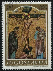 shows the medievel icon Crucifixion