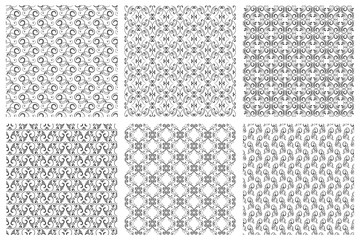 Wall Mural - Damask vector oriental floral vintage seamless pattern set. Calligraphic patterns from curls on white background
