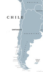 Chile political map with capital Santiago, national borders and neighbors. Republic and country in South America. Long, narrow strip of land. Gray illustration over white. English labeling. Vector.
