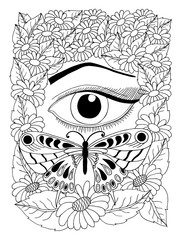 Vector illustration of a female eye with a butterfly surrounded by flowers. The work is done manually. Coloring books antistress for adults and children. Black and white.