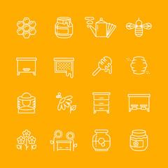 Honey apiary vector thin line icons set