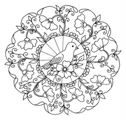 Vector illustration a bird in the frame made of flowers. Work done by hand. Book Coloring anti-stress for adults and children. Black and white.