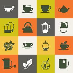 Multicolor tea vector icons set