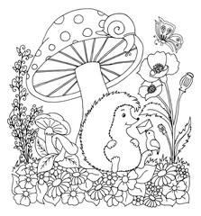 Vector illustration urchin under mushroom takes letter. Work done by hand. Book Coloring anti-stress for adults and children. Black and white.