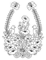Vector illustration birds surrounded by flowers. Work done by hand. Book Coloring anti-stress for adults and children. Black and white.