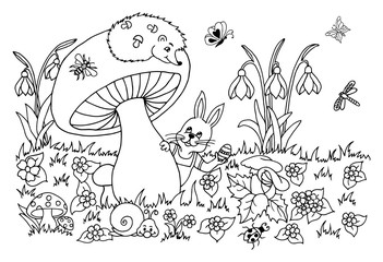 Vector illustration of a bunny with an Easter egg peeps out from under a mushroom. Work done by hand. Book Coloring anti-stress for adults and children. Black and white.