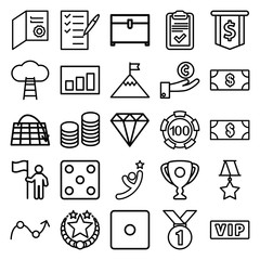 Set of 25 success outline icons