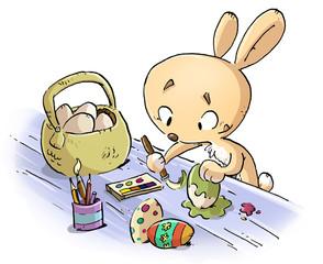 conejo de pascua pintando huevos