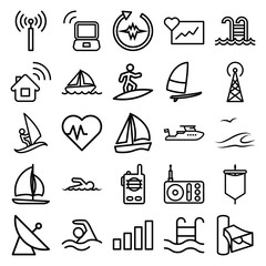 Set of 25 wave outline icons