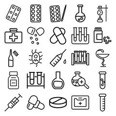 Set of 25 drug outline icons