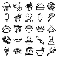 Set of 25 cuisine outline icons
