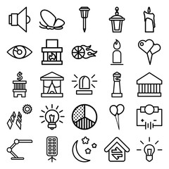 Set of 25 light outline icons
